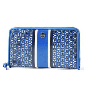 Blue Gemini Link Stripe Zip Continental Wallet